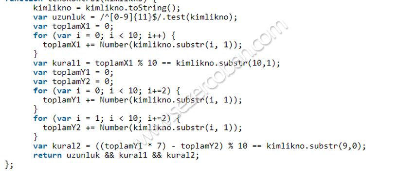 javascript tc kimlik doğrulama